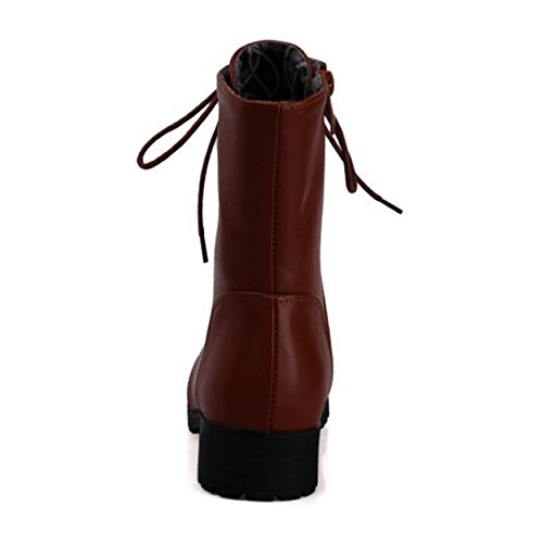 for up Martin Lace Brown Leather Zipper Booties Women Flat Short Work Ankle SNIDEL Boots q4PBtZS