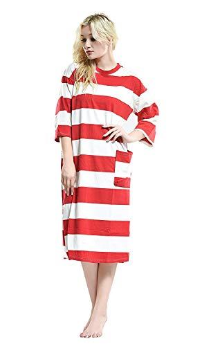 Red De Interior Camisón 4 Pijamas Manga Moda Suelta Cuello Mujeres Redondo Las Cómoda Impresos Ropa Elegante 3 aqrwq6d