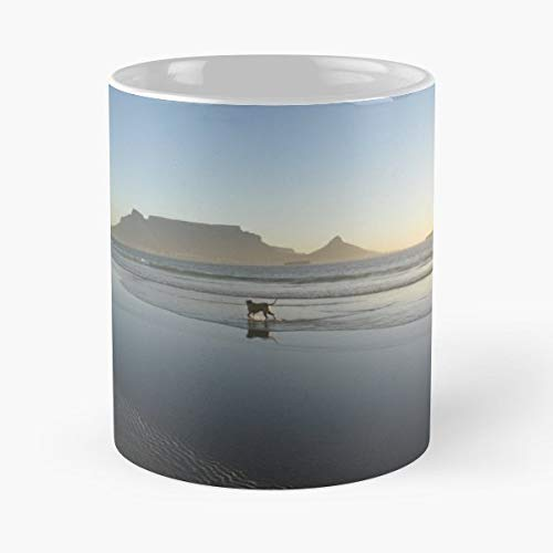 - Mans Best Friend Dog Beach Stroll Table Mountain Cape Town - Morning Coffee Mug Ceramic Novelty, Funny Gift