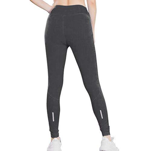 iHPH7 Capri Leggings for Women Fitness Yoga Pants Reflective Night Run Sports Training Quick-Drying Tight Pants (L,Gray)]()