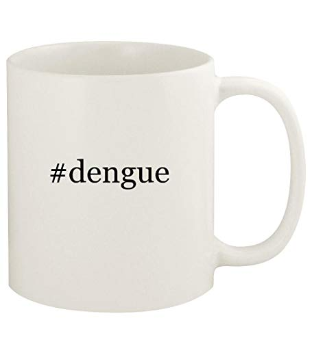 #dengue - 11oz Hashtag Ceramic White Coffee Mug Cup, White (Best Mosquito Repellent For Cambodia)