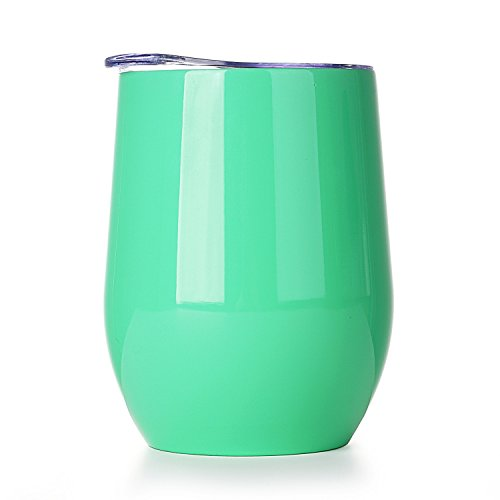 (Amzyt Stemless Wine Glasses For Women Red Sippy Cup Water Bottle Travel Mug Outdoor Drinking Glasses Green 12 Oz)