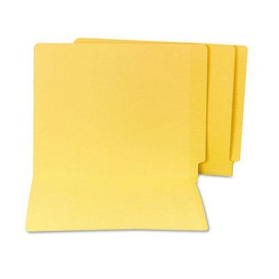 - Water/Paper Cut-Resistant Folders, Straight Cut, End Tab, Letter, YW, 100/Box
