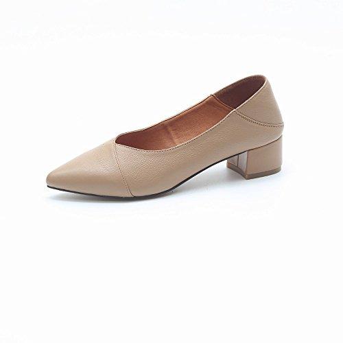 Bajo Trabajo Con Commuter Gruesos Dhg Tacón albaricoque Joker 35 Zapatos De Mujer Uso Para qw480xA