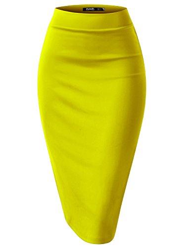 TWINTH Pencil Skirts Plus Size Casual Skirt Elastic Waist Band Scuba Streychy Solid Color Yellow 2XL