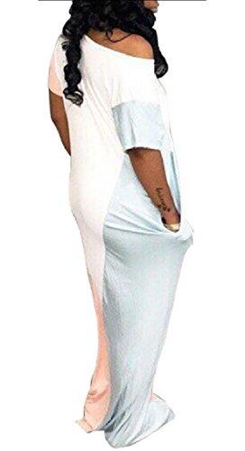 Casual Maxi Pink Long Sleeve Short Loose Womens Colorblock Jaycargogo Dress FwxZRp50q