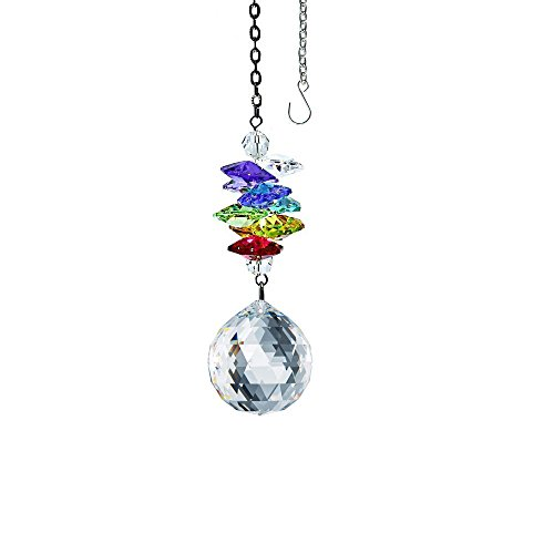 (Crystal Suncatcher 3 inch Crystal Ornament Clear Faceted Ball Prism Colorful Cascade Prisms Rainbow Maker Made with Genuine Swarovski Crystals)