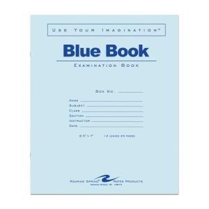 Bulk Exam Books, Blue 12 Sheet/24 Page, Wide Margin 8.5''x7'': Roaring Spring 77513 (500 Exam Books) by Roaring Spring