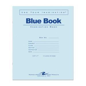 Bulk Exam Books, Blue 12 Sheet/24 Page, Wide Margin 8.5''x7'': Roaring Spring 77513 (500 Exam Books)