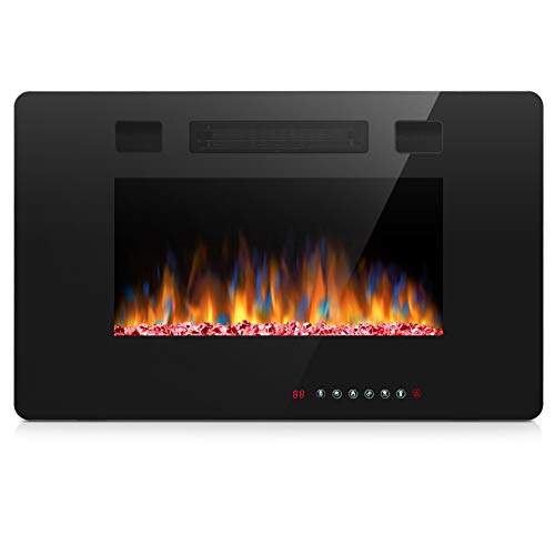 Joy Pebble Electric Fireplace – 30 Inch Wide – in Wall Recessed or Surface Mounted 12 Realistic Flame Setting 1500 750 Watt Heater with Touch Screen and Remote Control Black