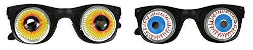 Black Duck Brand Set of 2 Eyeball Spring Glasses! Funny Gag Glasses! Prank Glasses Perfect for Toys, Costumes, Pranks, Party Favors, Halloween and More! (Assorted 2) ()