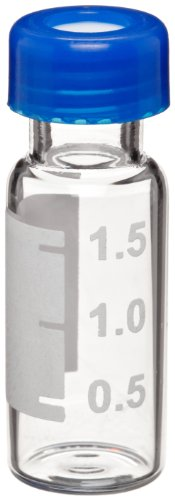 Wheaton W225161 Borosilicate Glass 1.8mL Vial with Writing Patch and 9mm Blue ABC Screw Cap, Clear (Case of - Vials Wheaton Sample