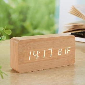 Led Cube Reloj de Madera Control de Voz Reloj de Escritorio electrónico Led Reloj Digital Reloj Niños Alarma de Noche Clocka D: Amazon.es: Hogar