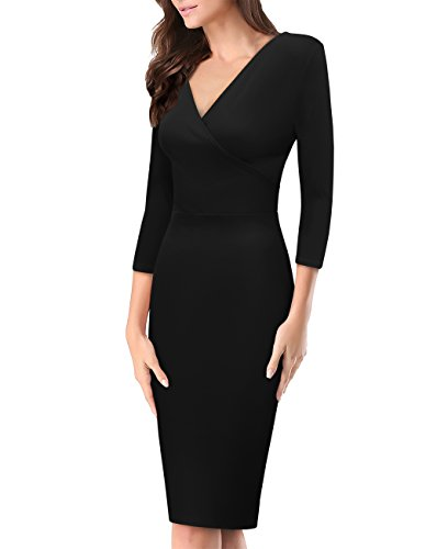 Women's Plum Cross V Neck MIDI Dress KDR44322 1073T Black Large