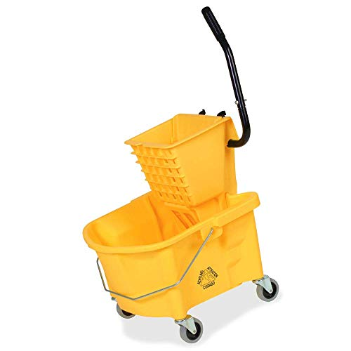 (26 quart Rolling Mop Trolley Bucket with Down Press Winger Household High Performance Cleaning Combo Floor Mopping System Yellow & eBook by BADA shop)