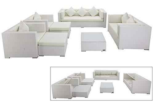 OUTFLEXX Exklusives XL Lounge-Set aus hochwertigem Polyrattan in weiß, 3-Sitzersofa, 2-Sitzer, 2 Sessel, 2 Hocker und Kaffeetisch, inkl. Kissenpolster, für 7 Personen, Kissenboxfunktion, zeitlos