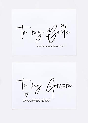 Simple To My Bride and To My Groom On Our Wedding Day Card Set For Husband and Wife (Letter To Bride On Wedding Day From Mother)