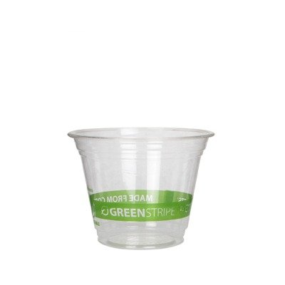 (9 Oz Compostable Cold Cup with Green Stripe Design (Set of 1000))