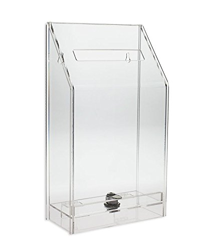 Source One Clear Collection Comment Donation Box - Medium - Counter Top or Wall Mount (Plastic Suggestion Box)