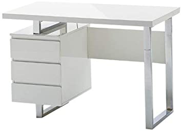 Robas lund bureau table sydney blanc brillant blanc chromé