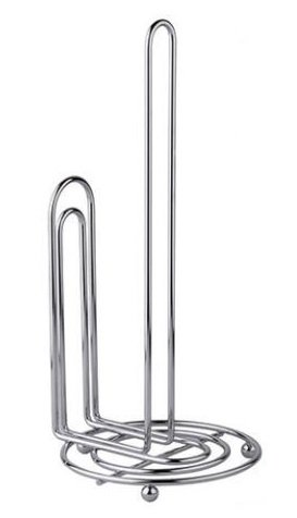 BaHoki Essentials Metal Paper Towel Holder for Contemporary Kitchen - Accommodates All Roll Sizes (Chrome) ()