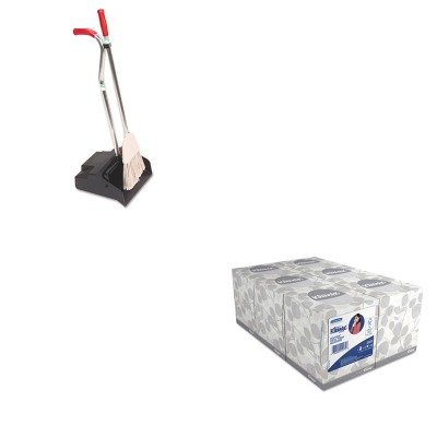 KITKIM21271UNGEDPBR - Value Kit - Ergo Dustpan/Broom, 12quot; Wide (UNGEDPBR) and KIMBERLY CLARK KLEENEX White Facial Tissue (KIM21271)