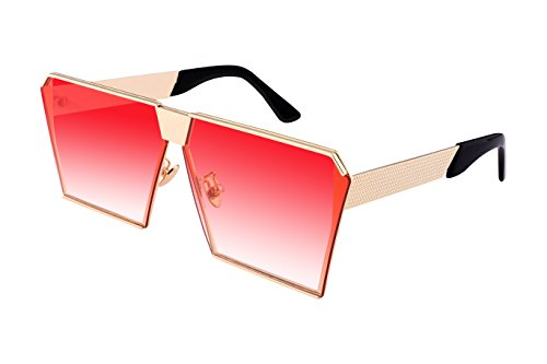 FEISEDY Square Mirrored Sunglasses Oversize Man Women Sunglasses - Sunglasses Crazy