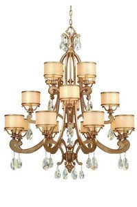 Corbett Lighting 71-016 ROMA 8+4+4LT CHANDELIER, ANTIQUE ROMAN SILVER Finish - CREAM ICE, CRYSTAL Glass