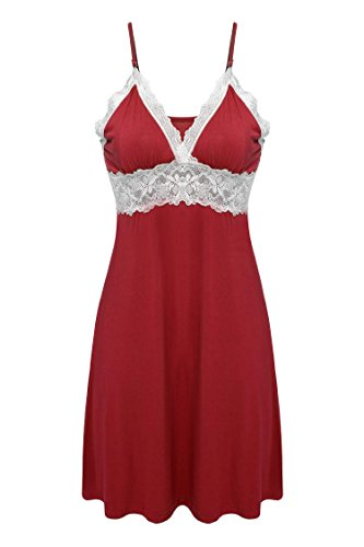 Cotton Empire Waist Chemise - Ekouaer Womens Chemise Full Slip Sleepwear Sleep Dress with Lace,Viscose-red,XX-Large