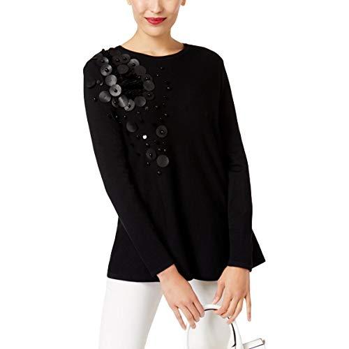 Alfani Sweater - Alfani Womens Embellished Long Sleeve Tunic Sweater Black M