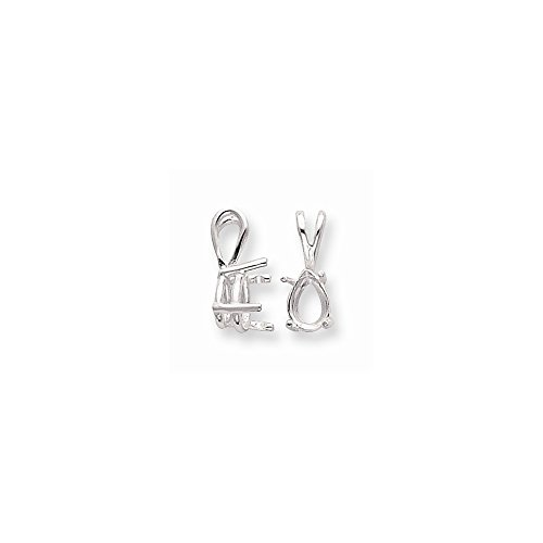 FB Jewels Sterling Silver Pear 4-Prong 7 x 5mm Fixed Bail Pendant Setting