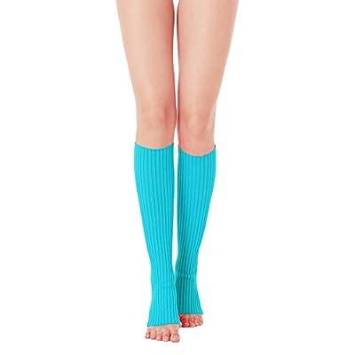 V28 Women 80s Party Warm Costume Marathon Knit Long Socks Leg Warmers, 2(ro+lbu) at Women's Clothing store