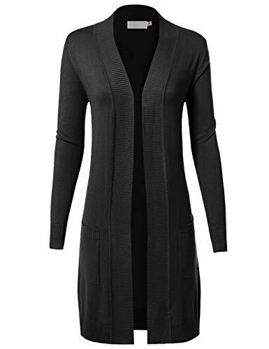 MAYSIX APPAREL Long Sleeve Long Line Knit Sweater Open Front Cardigan W/pocket For Women, Msg9-black, Medium ()