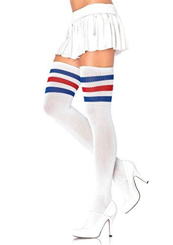 Leg Avenue Womens Three Striped Athletic Ribbed Thigh -