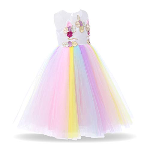 Baby Girls Unicorn Rainbow Party Dress Toddler Sleeveless Princess Birthday Wedding Dress Halloween Dressing Up Costumes R# Rainbow Petal Vest Dress 7-8 Years ()