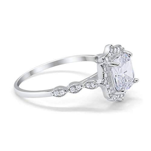 - Blue Apple Co. Halo Art Deco Engagement Ring Cushion Round Simulated Cubic Zirconia 925 Sterling Silver, Size-6