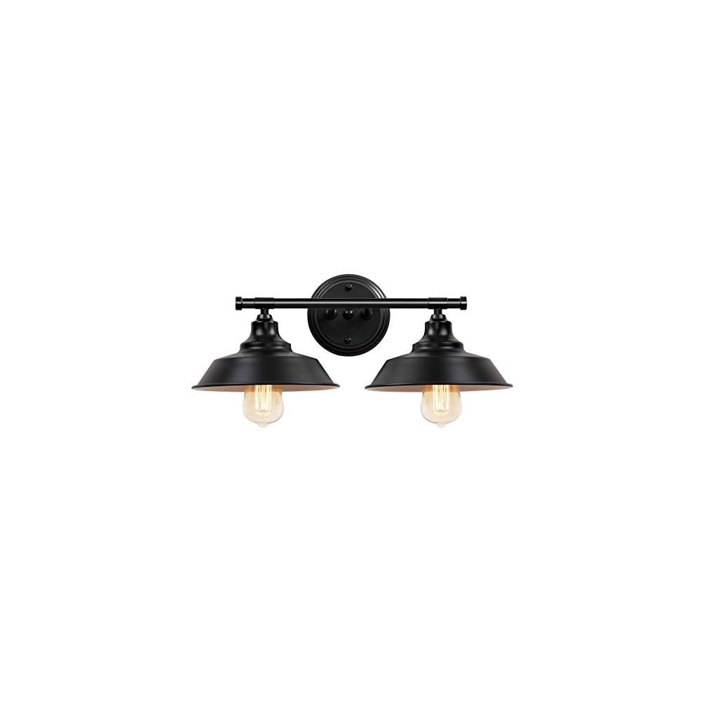Farmhouse Bathroom Vanity Light Fixtures Matte Black, Metal Bathroom Lights Over Mirror 2-Lights, Rustic Style Vintage…