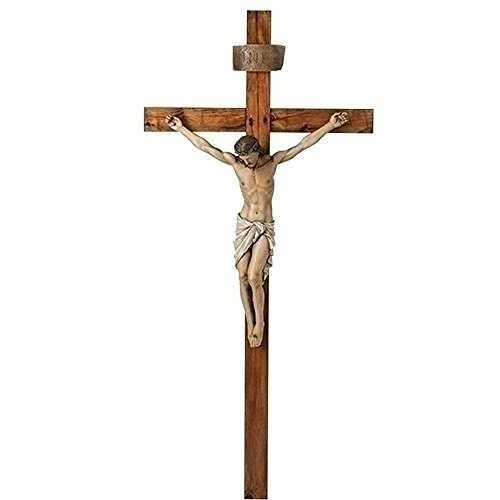 Traditional Crucifix Textured Wood Tone 33 x 72 Resin Stone Outdoor Statue