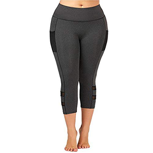 CCatyam Yoga Pants for Women, Plus Size Trouser Solid Fitness Bottom Tight Sports Gym Fashion Gray ()