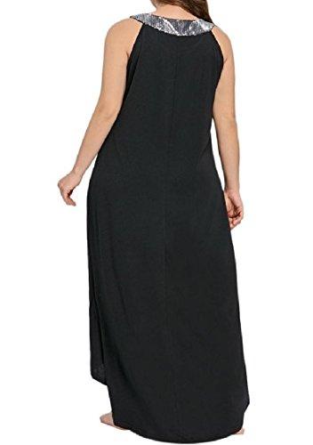 Coolred-femmes Solide Taille Plus Paillettes Sequin Haut Col Haut Bas Maxi Robe Longue Noire