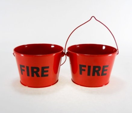 Smoking Urn Wall (2 pc Set of Red Fire Buckets Ashtrays)