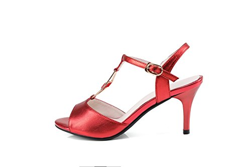 AdeeSu Womens Hollow Out Spikes Stilettos Metal Buckles Leather Sandals SLC03400 Red yKE4PS