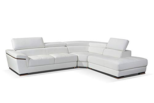 2383 Leather Right Hand Facing Sectional Sofa in White