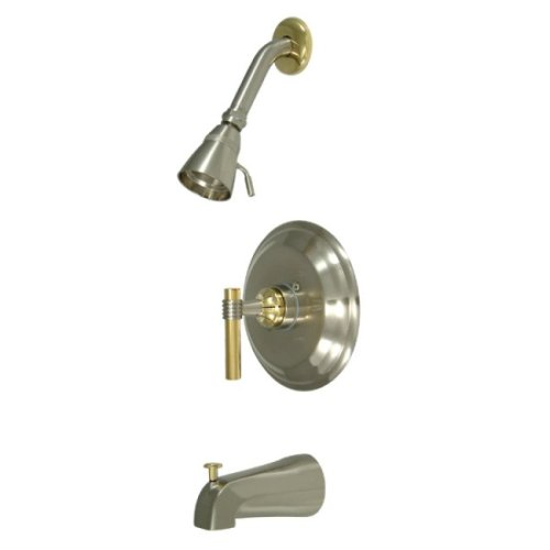 Kingston Brass KB2639ML Milano Tub and Shower Faucet Milano Handle, Brushed Nickel and Polished Brass ()