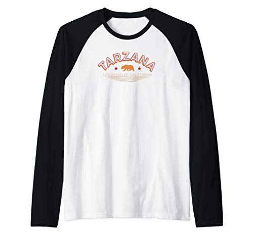 Tarzana Los Angeles Shirt LA Valley Neighborhood Cali Bear Raglan Baseball Tee