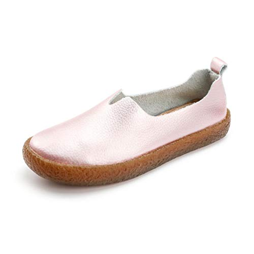 (Women Fashion Loafers Shoes Leather Slip On Stylish Round Toe Comfortable Casual Flat Moccasins Pink)