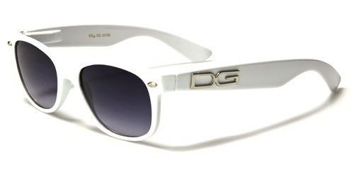 - White Gray White Vintage Style Womens Sunglasses With Signature On Temple