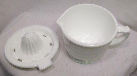 Blanco 2 tazas vaso medidor con Exprimidor - Leche cristal reproducción depresión estilo - vitatge cocina decoración del hogar - Granja Casa: Amazon.es: ...