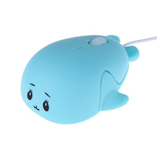 Fashionable Cute Animal Baby Dolphin Shape USB Wired Mouse 1600 DPI Optical Mice Mini Small Kids Children Mice for PC Laptop Computer (Blue)