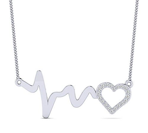 Fehu Jewel 0.11cts Natural Diamond 10k Gold Heartbeat Wave & Heart Pendant for Your Love (White-Gold-Plated-Silver)